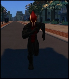 Astromancer running trough the streets in the suit he wore when he landed on earth! It served as a prototype for his superhero costume