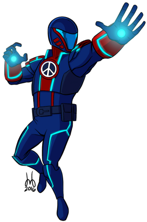 The Peacemaker about to let loose with his ion-beam gauntlets.